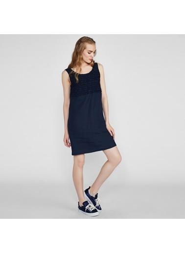 Vekem-Limited Edition Kolsuz Keten Elbise Lacivert